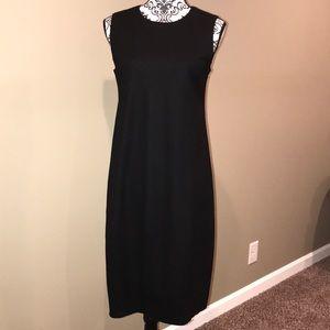 Eileen Fischer Timeless Elegant Black Wool Dress
